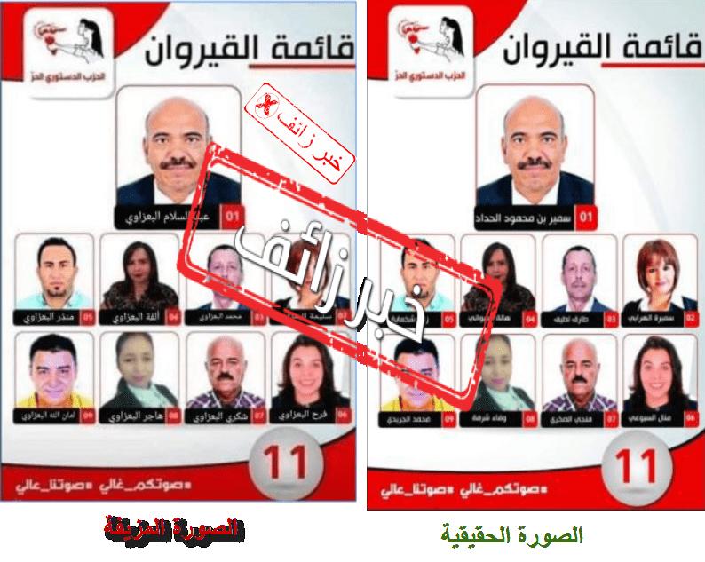 قائمة الحزب الدستوري الحر في القيروان من عائلة واحدة: خبر زائف